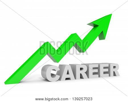 Graph up career arrow on white background. 3D illustration.