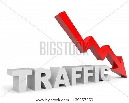 Graph down traffic arrow on white background. 3D illustration.