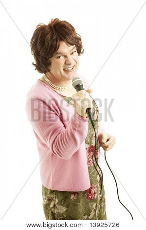 Celebrity female impersonator resembles frumpy middle aged signer.  Isolated on white.