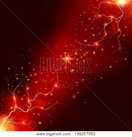 Realistic thunderstorm effects with bright red orange flashes of lightnings on night sky background vector illustration