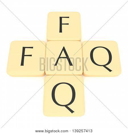 Letter tiles: FAQ 3d illustration on a white background