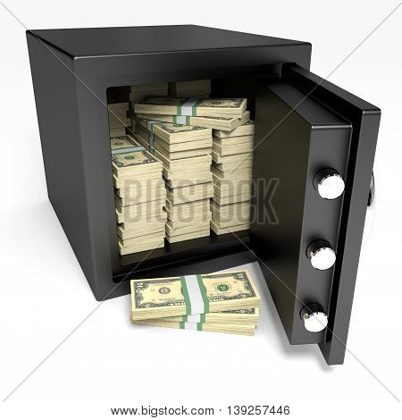 Opened Safe With Bank Notes. Two Dollars.