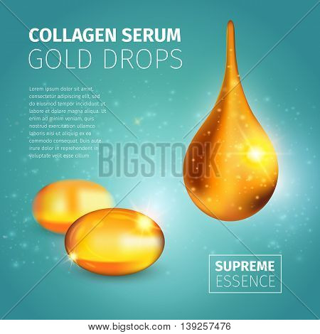 Collagen serum poster with golden oil capsules and illuminated glossy drop on blue spotty background vector illustration