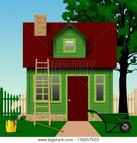 Green house on a plot with fence, tree and home tools