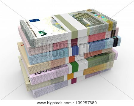 Money Stacks. Different Euro Bank Notes.