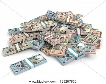 Money Heap. Different Dollar Bank Notes.