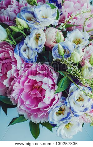 Beauty bunch of pink peonies peony and blue eustoma roses flowers on white background. Lovely summer bridal bouquet. Wedding concept. Card text place copy space. Floral wallpaper trendy color