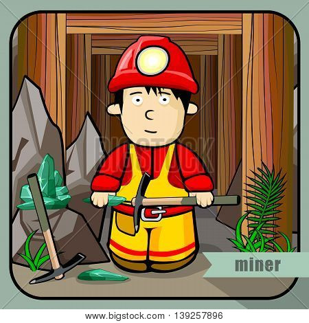 Vector person character portrait. Miner portrait isolated on mines background. Cartoon style. Human profession icon.