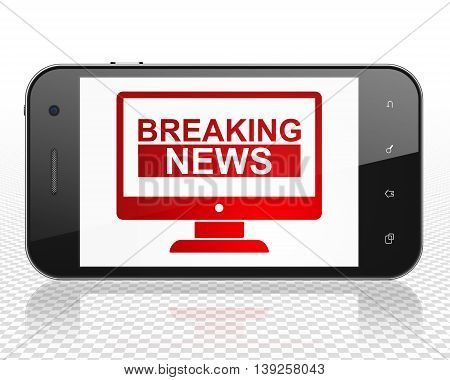 News concept: Smartphone with red Breaking News On Screen icon on display, 3D rendering