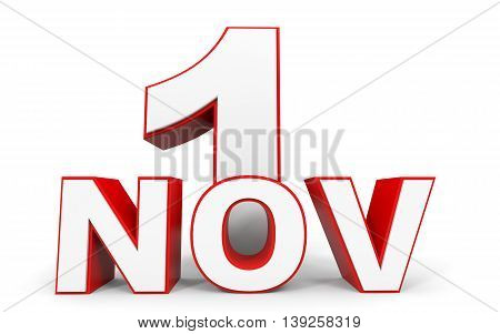 November 1. 3D Text On White Background.
