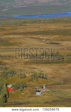 View Over Bogs And Lower Station Of Ski Lift Near Bakvattnet, Sweden
