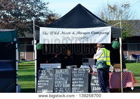 IPSWICH SUFFOLK UK 25 October 2014: East Anglia Equestrian Fair Outdoor Burger stand with real meat