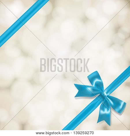 light blue vow and ribbon on blurry background. vector illustration