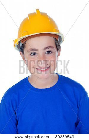 Funny child with yellow helmet. A future architect isolated on a white background