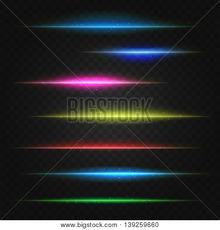 set of vector lens flares lines. vector illustration