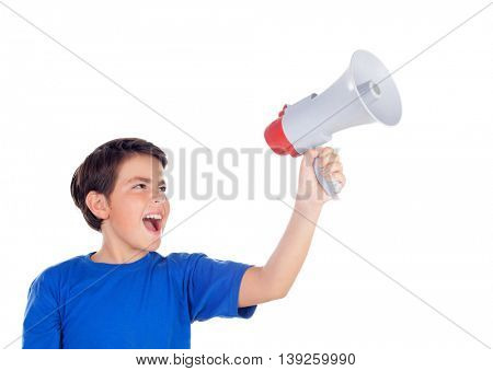 Funny boy shouting through a megaphone isolated on a white background