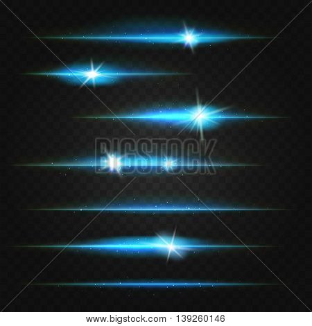 lens flares and lines blue on dark transparent background. vector illustration