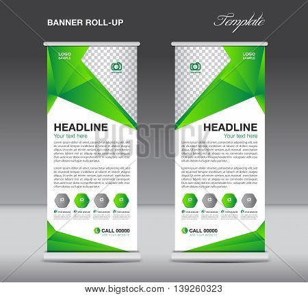 Green Roll up banner stand template flyer design display polygon background