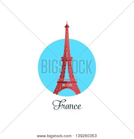 France landmark isolated round icon. Vector illustration