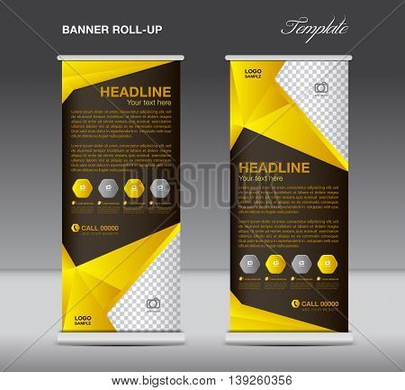 Yellow Roll up banner stand template flyer design display polygon background