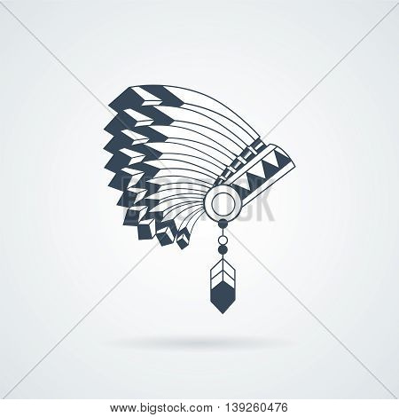 American Indian feathers war bonnet isolated on white. Vector illustration