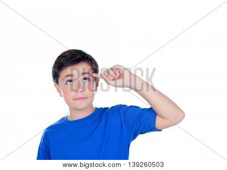 Funny child with ten years old and blue t-shirt isolated on a white background
