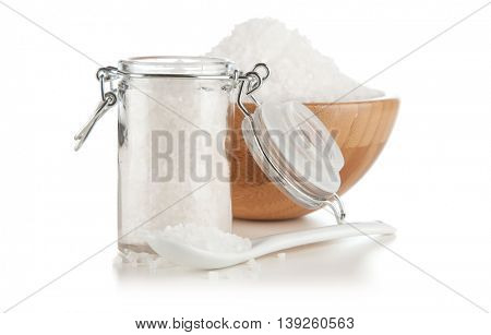 Salt in a glass container
