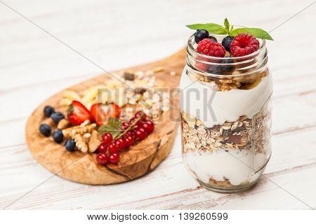 Muesli with berries dessert