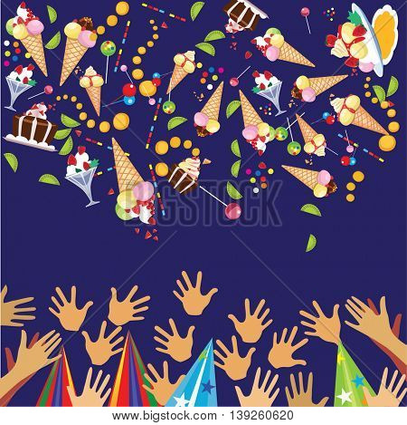 vector background of happy holiday, sweets, ice cream, cake, lollipop