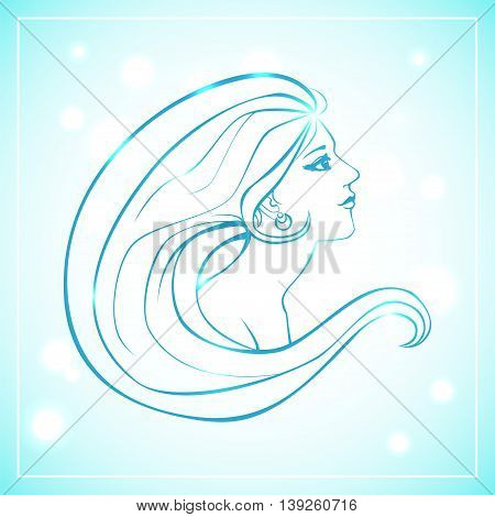 Vector illustration of woman bust in side view and with long hair. Blue lineart on light background with bokeh.
