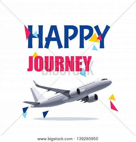 Flying Airplane with Happy Journey Header. Wishes For a Good Trip.Concept For Travel Company Banner PosterVoucherTicketMagazine.