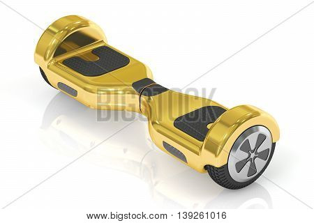 golden hoverboard or self-balancing scooter 3D rendering isolated on white background