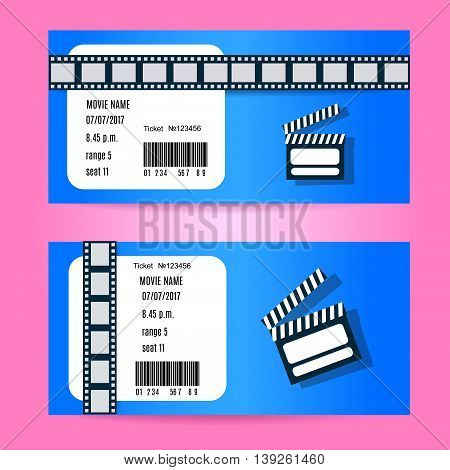 Cinema Ticket Concept. Vector Design. Realistic Illustration