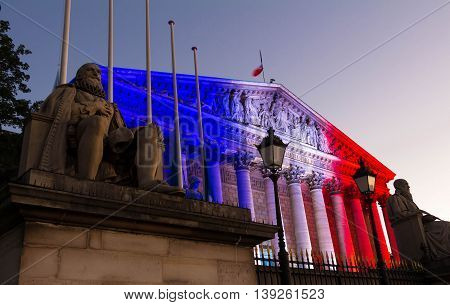 The French National Assembly lit up with colors of French national flag to honor the victims of July 14 2016 terrorist's attack in Nice.