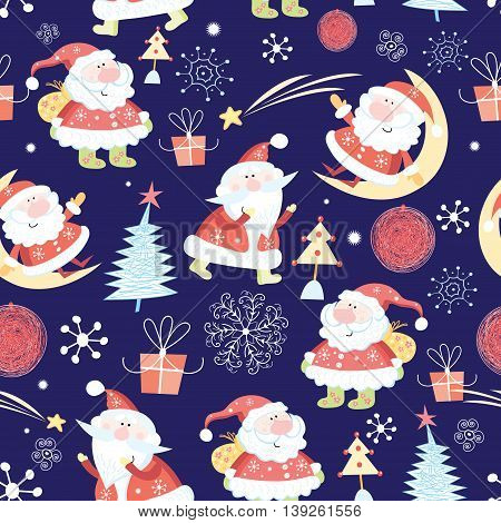 Winter seamless pattern with Santa Claus on a blue background
