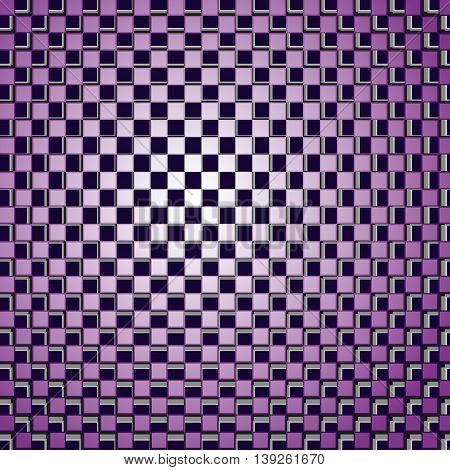 Background consisting of squares correct form with the effect of optical illusion. Vector illustration.