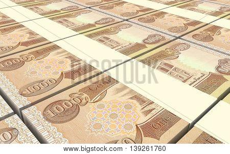 Iraqi dinars bills stacked background. 3D illustration.