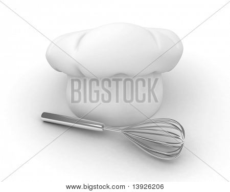 3D Illustration of a Chef's Hat and an Egg Beater