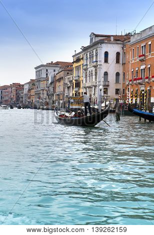 Canal Grande with boats Venice Italy .