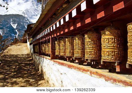 Buddhist Wheels In Namche Bazar. Everest Region, Nepal