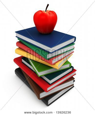 3D Illustration of a Pile of Books with an Apple on Top