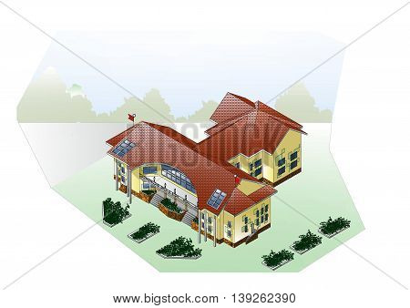 General plan of the site with the house lawns walkways color image architectural drawing perspective view of a three-dimensional Images