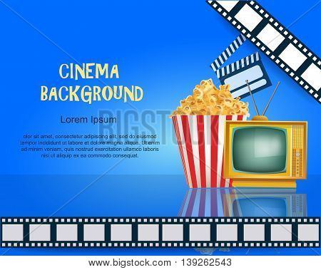 Realistic Cinema Background. Movie Premiere Poster. Template Banner with TV Popcorn Clapper and Film. Vector Detailed Illustration on Blue Background.