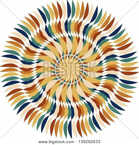 Abstract radial multicolored winding stripes, isolated on white background, vector illustration