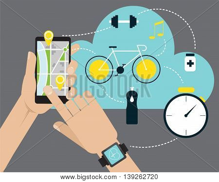 Hand holding mobile smart phone app with track displayed. Vector fitness route tracking concept illustration.