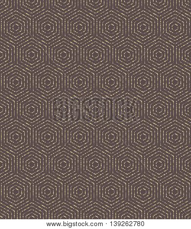 Geometric fine abstract hexagonal background. Seamless modern brown and golden dotted pattern