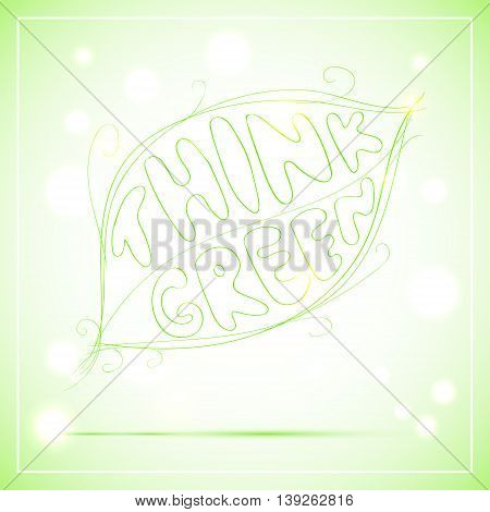 Vector lettering sketch illustration of green leaf with text