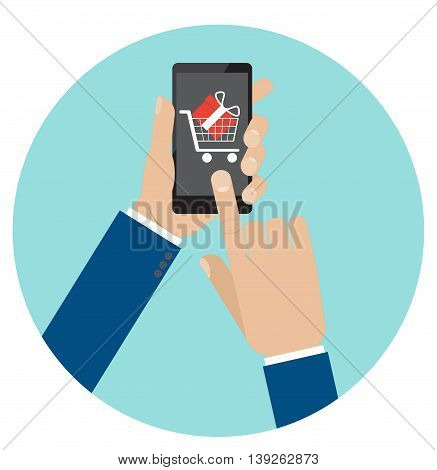 Hand touch smartphone screen with supermarket cart and gift box in it. Vector illustration