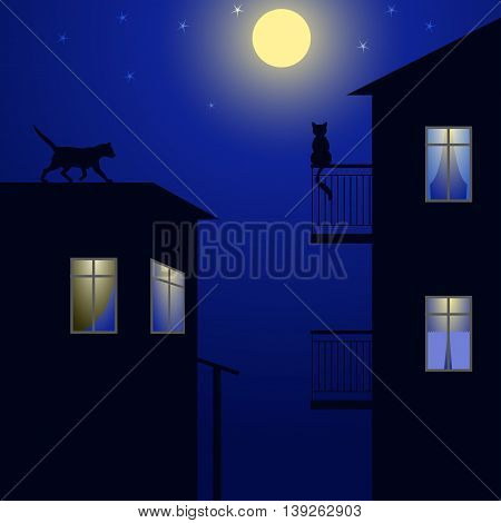 Two cats meet on the roofs of the night city by moonlight, vector illustration