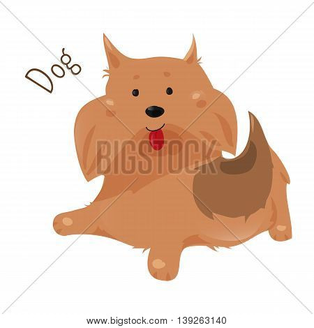 Dog isolated on white background. Canis lupus familiaris. Domesticated canid. Doggy. Part of series of cartoon home animal species. Domestic pets. Sticker for kids. Child fun icon. Vector
